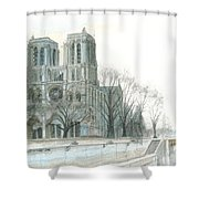 Notre Dame Cathedral In March Shower Curtain by Dominic White
