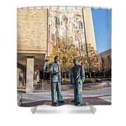 Notre Dame Library And Statue Shower Curtain