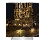 Notre Dame Night Painterly Shower Curtain