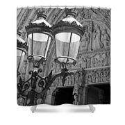 Notre Dame Street Lights Paris France Black And White Shower Curtain