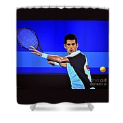Novak Djokovic Shower Curtain by Paul Meijering