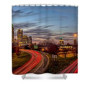 November Sun Setting Over Charlotte North Carolina Skyline Shower Curtain
