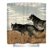 November Wolves Shower Curtain