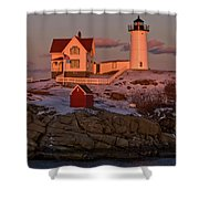 Nubble Light At Sunset Shower Curtain by Paul Mangold