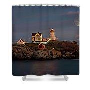 Nubble Light Full Moon Shower Curtain