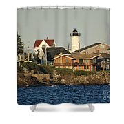 Nubble Light House Beach View Shower Curtain