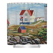 Nubble Light House Maine Shower Curtain