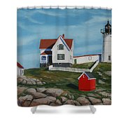 Nubble Light House Shower Curtain by Paul Walsh