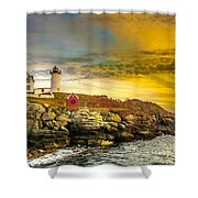 Nubble Lighthouse At Sunset Shower Curtain