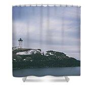Nubble Lighthouse Overcast  Shower Curtain