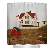 Nubble Lighthouse Shed And House Shower Curtain