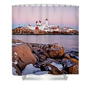Nubble Winter Dusk Shower Curtain by Susan Cole Kelly
