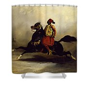 Nubian Horseman At The Gallop Shower Curtain by Alfred Dedreux or de Dreux