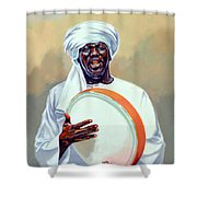 Nubian Musician Player Playing Duff Shower Curtain