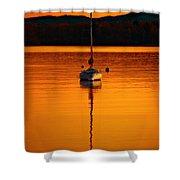 Nuclear Sunset Shower Curtain by Meirion Matthias