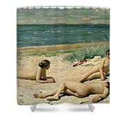 Nude Bathers On The Beach Shower Curtain