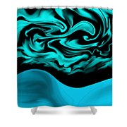 Nude Blue Female Under Abstract Sky Shower Curtain