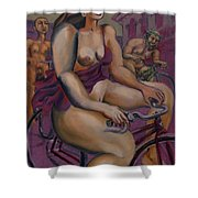 Nude Cyclists With Carracchi Bacchus Shower Curtain