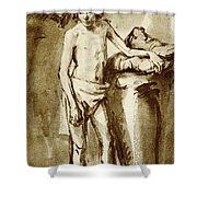 Nude Drawing For A Youth Shower Curtain