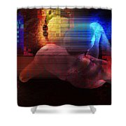 Nude In Glitchscape Shower Curtain