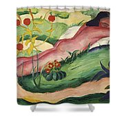 Nude Lying In The Flowers 1910 Shower Curtain