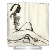 Nude Study, Girl Sitting On A Flowered Cushion Shower Curtain