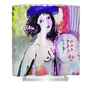 Nude With Flower Hat Shower Curtain