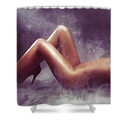 Nude Woman Body In Clouds Of Smoke Shower Curtain