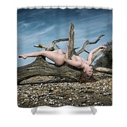 Nude Woman Entwined In Fallen Tree Shower Curtain