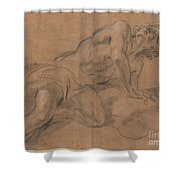 Nude Youth Leaning On A Cloud And Gazing Upward Shower Curtain