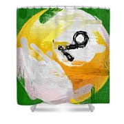 Number Nine Billiards Ball Abstract Shower Curtain by David G Paul
