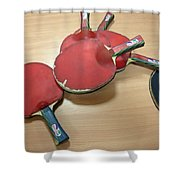 Number Of Ping Pong Bats Piled On A Table Shower Curtain