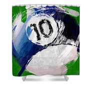 Number Ten Billiards Ball Abstract Shower Curtain