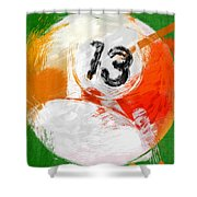 Number Thirteen Billiards Ball Abstract Shower Curtain by David G Paul