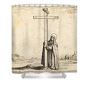 Nun Embracing The Holy Cross Shower Curtain