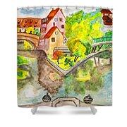 Nuremberg, Hand Drawn Picture Shower Curtain