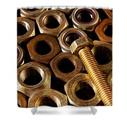 Nuts And Screw Shower Curtain by Carlos Caetano