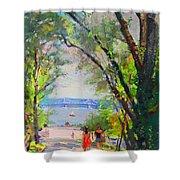 Nyack Park A Beautiful Day For A Walk Shower Curtain by Ylli Haruni