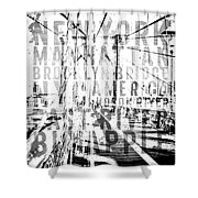 Nyc Brooklyn Bridge Typography No2 Shower Curtain by Melanie Viola