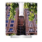 Nyc Building With Tree Overhang Shower Curtain