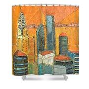 Nyc In Orange Shower Curtain