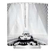 Nyc- Inside The Oculus In Black And White Shower Curtain
