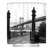 Nyc Manhattan Bridge Bw Shower Curtain