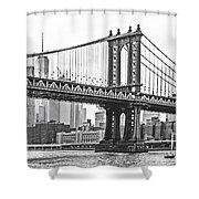 Nyc Manhattan Bridge In Black And White Shower Curtain