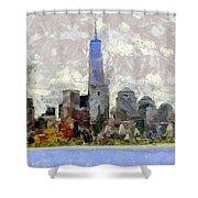 Nyc Skyline Digital Painting  Shower Curtain