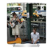 Nyc Street Musicians Banjo Shower Curtain
