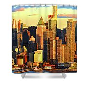 Nyc West Side In Gold And Blue  Shower Curtain
