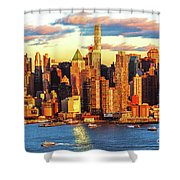 Nyc West Side Skyscrapers At Sundown Shower Curtain