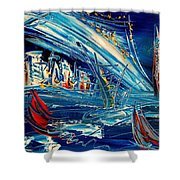 Nycity Blue Shower Curtain