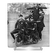 Nypd Motorcycle Stunts Shower Curtain